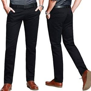 Matchstick Black Slim Tapered Flat Front Pants